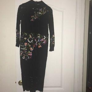 Metisu Black Lace Embroidered Dress Sz L Runs sm